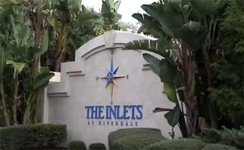 view of The Inlets sign